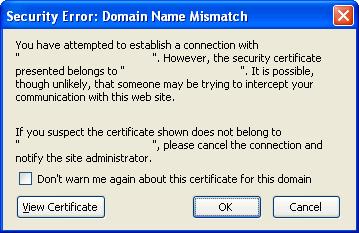 Security Error: Domain Name Mismatch