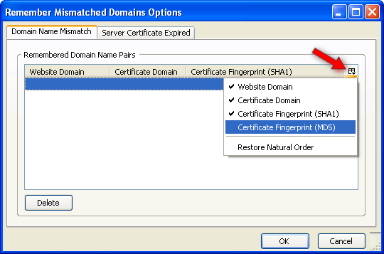 RMD options with certificate fingerprints